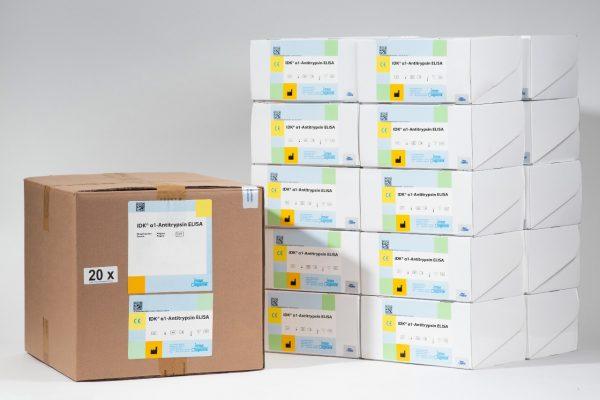 A side by side comparison of our α1-Antitrypsin ELISA Bulk Pack (20 Plates) versus 20 regularly packaged α1-antitrypsin kits.