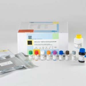 The components of the IDKmonitor® Adalimumab Drug Level ELISA laid out in front of a white background.