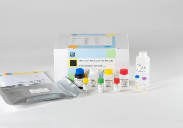 The components of the IDKmonitor® Adalimumab Total ADA ELISA laid out in front of a white background.