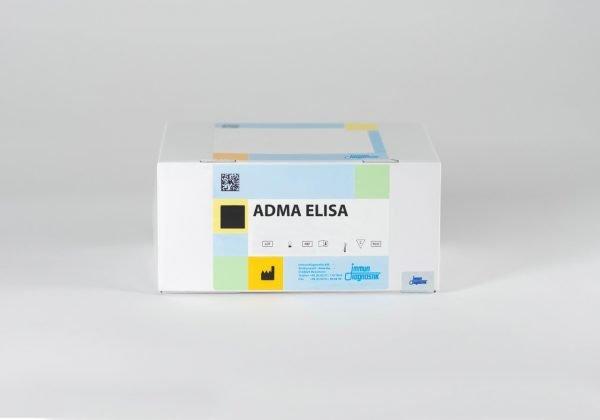An ADMA ELISA kit box set against a white backdrop.