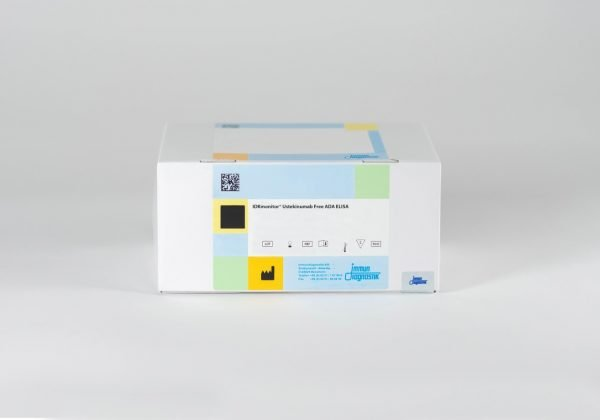 An IDKmonitor® Ustekinumab Free ADA ELISA kit box set against a white backdrop.