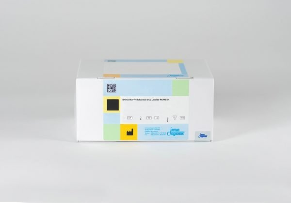 An IDKmonitor® Vedolizumab Drug Level LC-MS/MS Kit box set against a white backdrop.