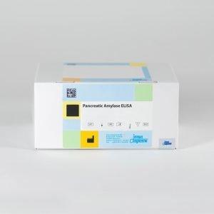 A Pancreatic Amylase ELISA kit box set against a white backdrop.