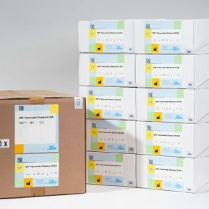 A photo comparison of our Pancreatic Elastase ELISA Bulk Pack (20 Plates) versus the equivalent of 20 individual Pancreatic Elastase kit boxes.