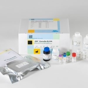 The components of the Immundiagnostik Zonulin ELISA laid out in front of a white background.