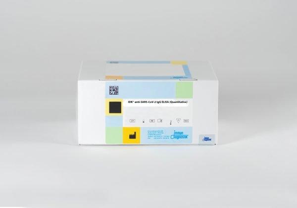 The IDK® anti-sars-CoV-2 IgG ELISA (Quantitative) set against a white backdrop.